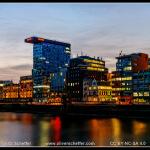 Medienhafen Düsseldorf nach Sonnenuntergang